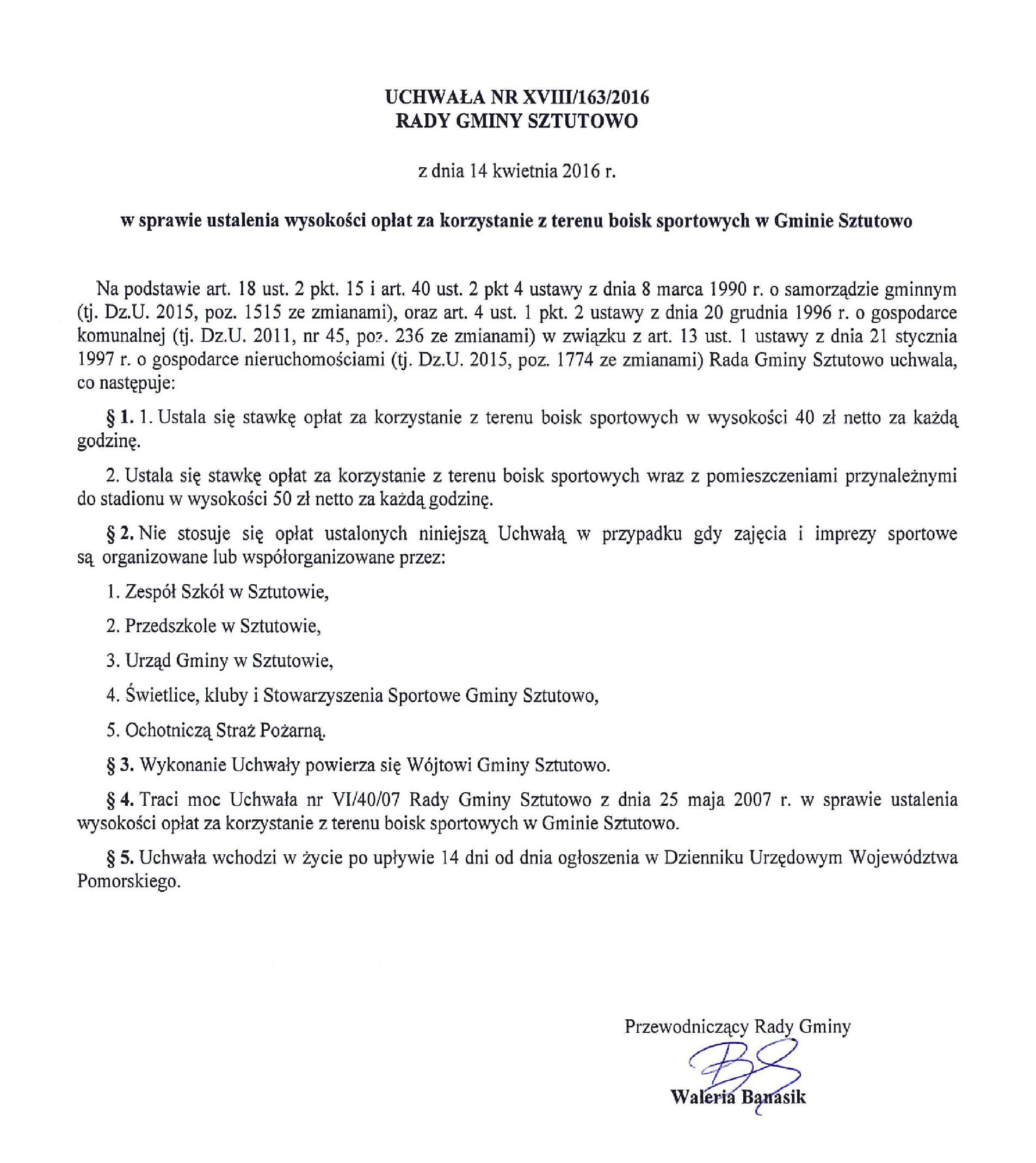 Uchwała Rady Gminy Sztutowo w sprawie opłat za boisko sportowe z dnia 14.04.2016