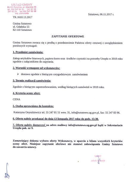 zapytanie ofertowe - materiały biurowe 1