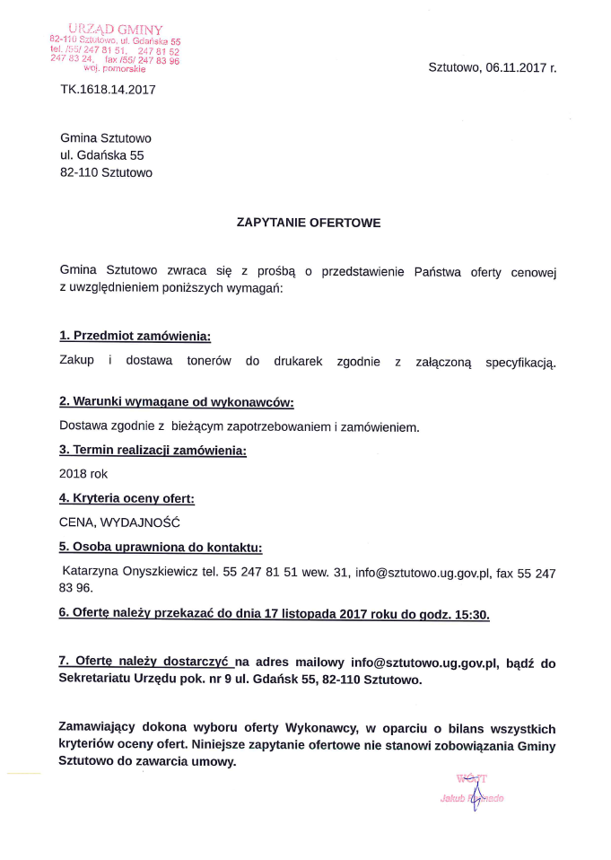 zapytanie ofertowe - tonery do drukarek 06.11.2017