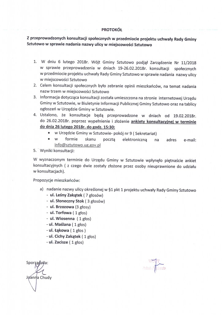 protokół z przeprowadzonych konsultacji