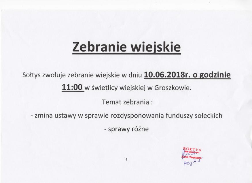 zebranie wiejskie Groszkowo